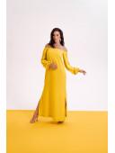 Льняное платье с длинным рукавом желтого цвета