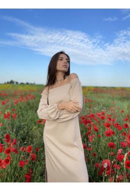 Льняное платье с длинным рукавом бежевого цвета