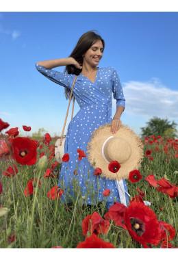 Легкое платье на запах цвета голубое новое