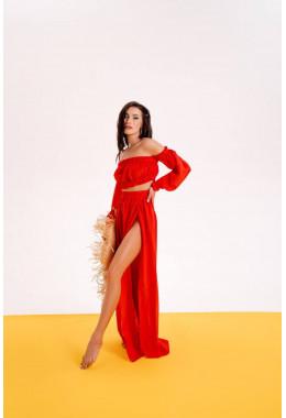 Пляжный костюм красного цвета