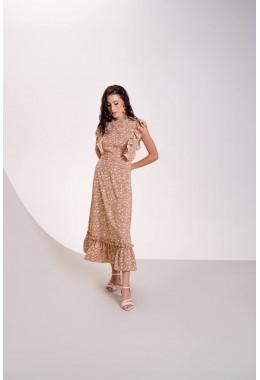 Очень красивое платье в пол бежевого цвета