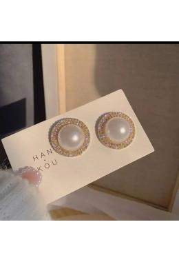 Оригинальные круглые серьги золотистые под жемчуг