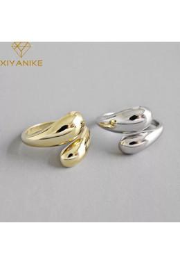 Кольцо тонкое серебристое двойное
