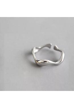 Кольцо зиг-заг серебристое