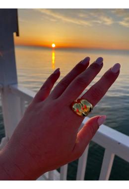 Кольцо массивное двойное золотистое