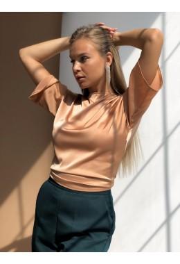 Золотая блуза на запах шелковая