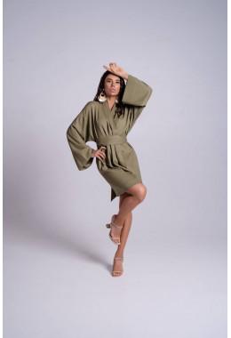 Платье кимоно короткое цвета хаки