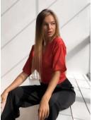 Шикарная красная блуза на запах