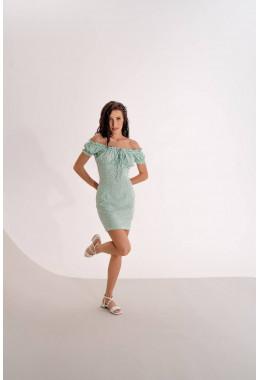 Мятное платье в горошек