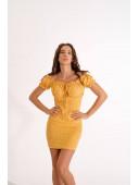Желтое платье в горошек