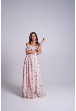 Невероятно красивое пудровое платье с пышной юбкой