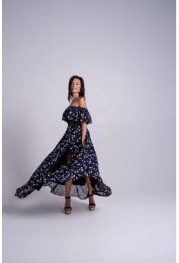 Невероятно красивое темно-синее платье с пышной юбкой