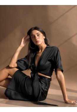 Шикарная черная блуза на запах