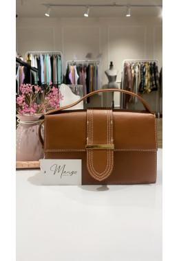 Небольшая коричневая стильная сумочка