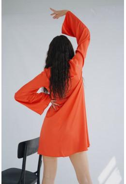 Шелковое платье цвета коралл