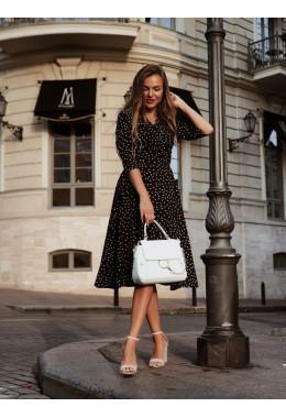 Романтическое черное платье в частый горошек