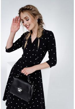 Романтическое черное платье в редкий горошек
