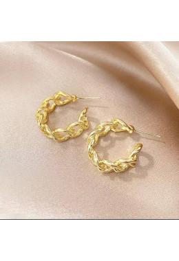 Золотистые серьги круглые плетение