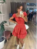 Мини платье красного цвета в горох