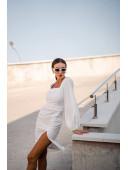 Модное белое  платье с рукавами-воланами по фигуре