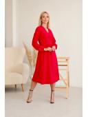 Платье на запах миди длины красное