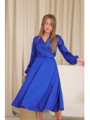 Шелковое платье на запах цвета электрик