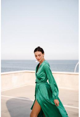 Шелковое платье на запах зеленое