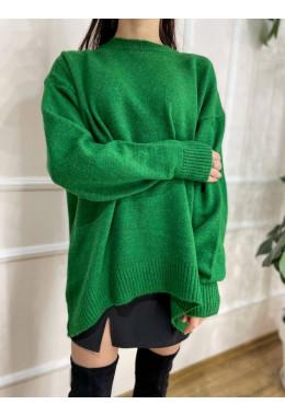 Приятный теплый свитер зеленый