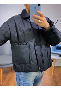 Укороченная куртка стежка черная