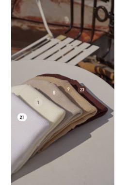Шапка двойная с подворотом шоколад #23