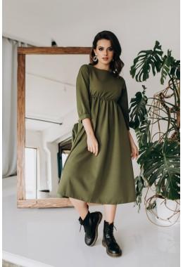 Сдержанное платье миди длины цвета хаки