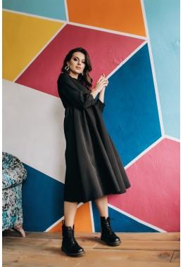 Сдержанное темное платье миди длины