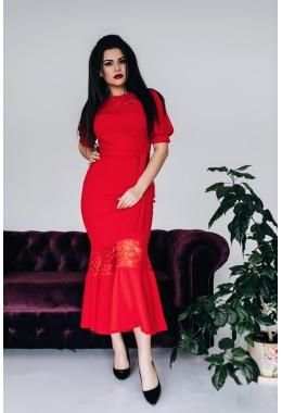 Вечернее платье миди длины красного цвета