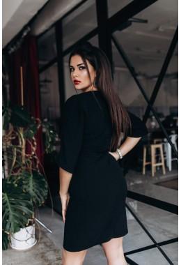 Очень элегантное черное платье с разрезом