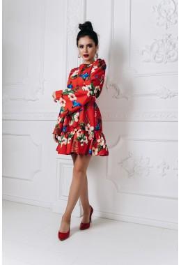 Модное принтованное платье с рукавами