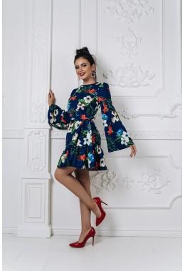Модное принтованное платье с рукавами синего цвета