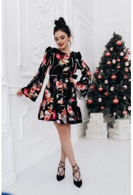 Модное принтованное платье с рукавами черного цвета