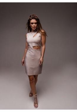 Вечернее платье без рукавов пудрового цвета