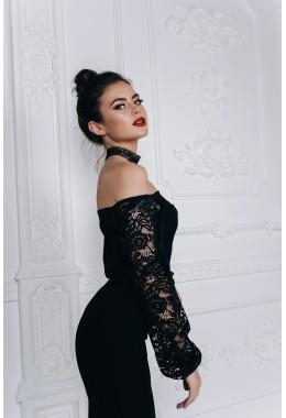 Вечернее платье в пол с кружевными рукавами