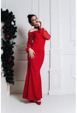 Вечернее красное платье в пол с кружевными рукавами