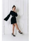 Мини платье черное с расклешенными рукавами