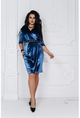 Платье из королевского бархата с вышивкой цвета индиго