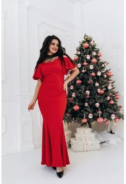 Оригинальное вечернее платье в пол красное