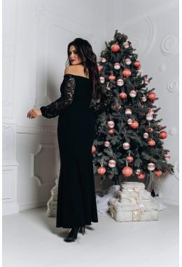 Изящное черное платье в пол