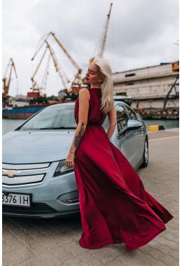 Шелковое платье в пол цвета марсала