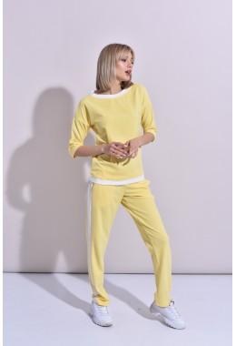 Спортивный костюм с контрастной отделкой желтый