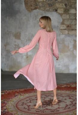 Милое гороховое платье персикового цвета