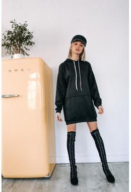 Спортивное платье-худи черного цвета