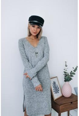 Экстравагантное серое теплое платье