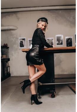 Юбка с воланом черная